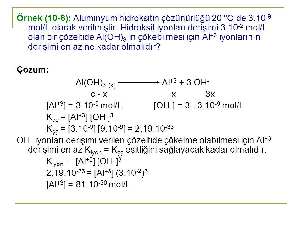 Örnek (10-6): Aluminyum hidroksitin çözünürlüğü 20 °C de 3