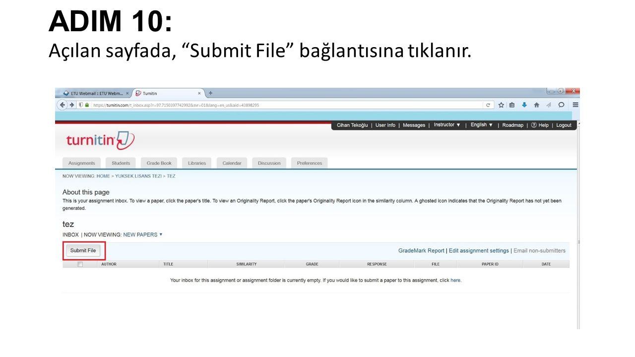 ADIM 10: Açılan sayfada, Submit File bağlantısına tıklanır.