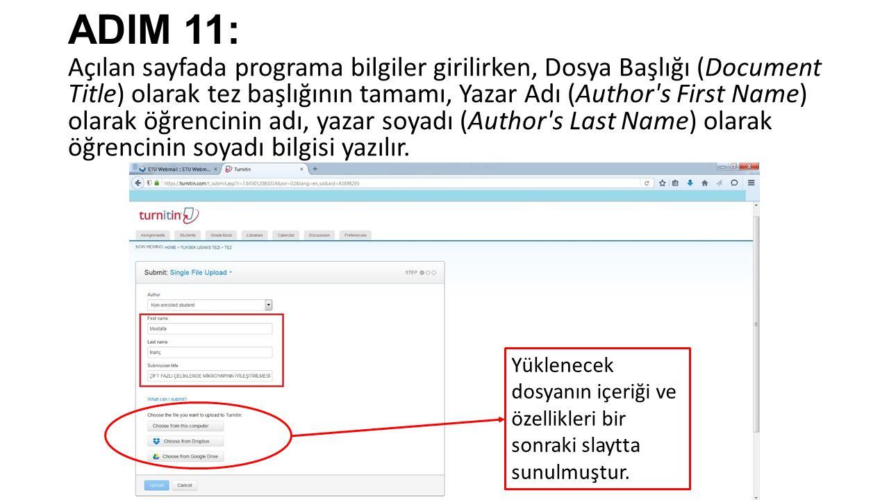 ADIM 11: