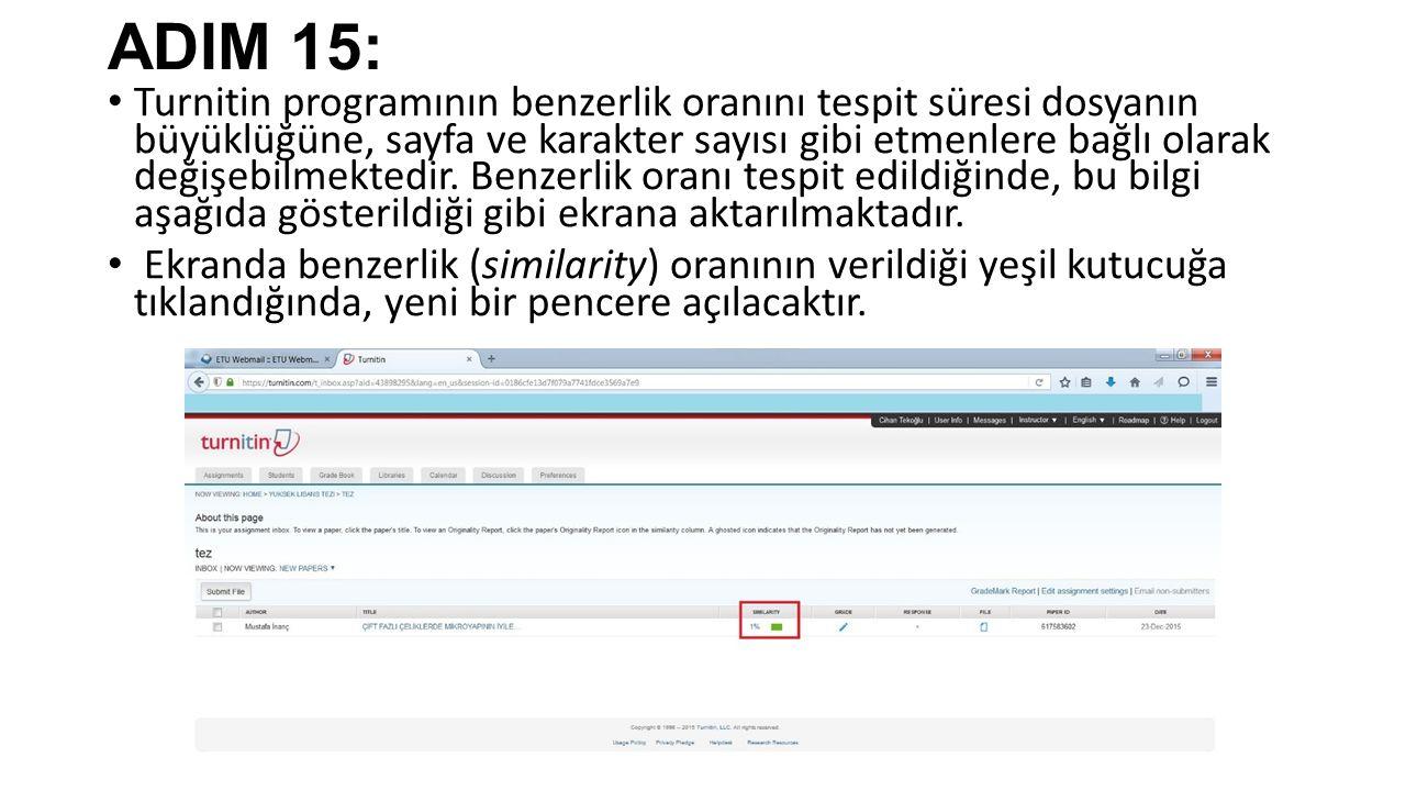 ADIM 15: