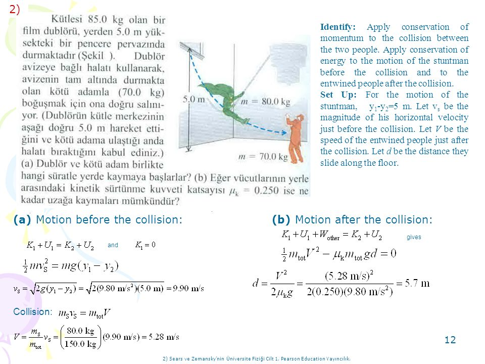 (b) Motion after the collision: