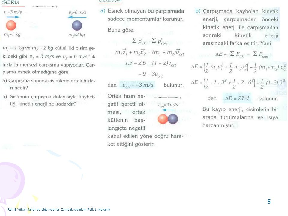 Ref. B Yüksel Şahan ve diğer yzarlar, Zambak yayınları, Fizik 1 ,Mekanik