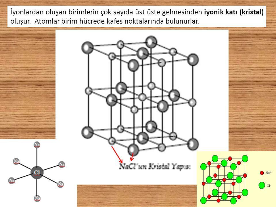 İyonlardan oluşan birimlerin çok sayıda üst üste gelmesinden iyonik katı (kristal) oluşur. Atomlar birim hücrede kafes noktalarında bulunurlar.