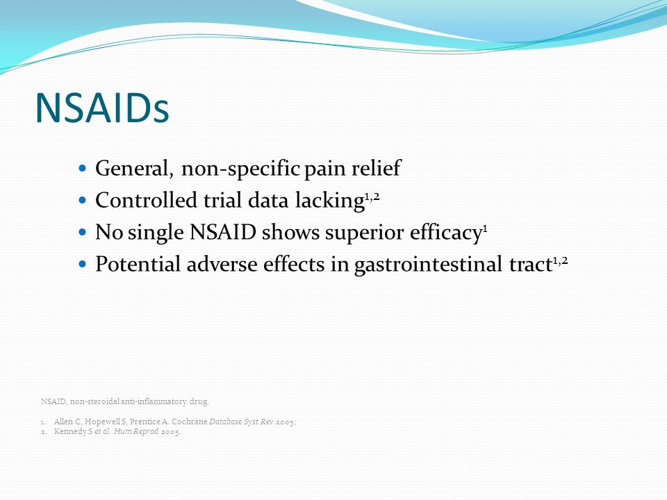 NSAIDs General, non-specific pain relief