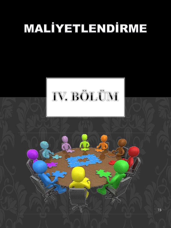 MALİYETLENDİRME IV. BÖLÜM