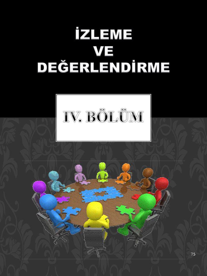 İZLEME VE DEĞERLENDİRME IV. BÖLÜM
