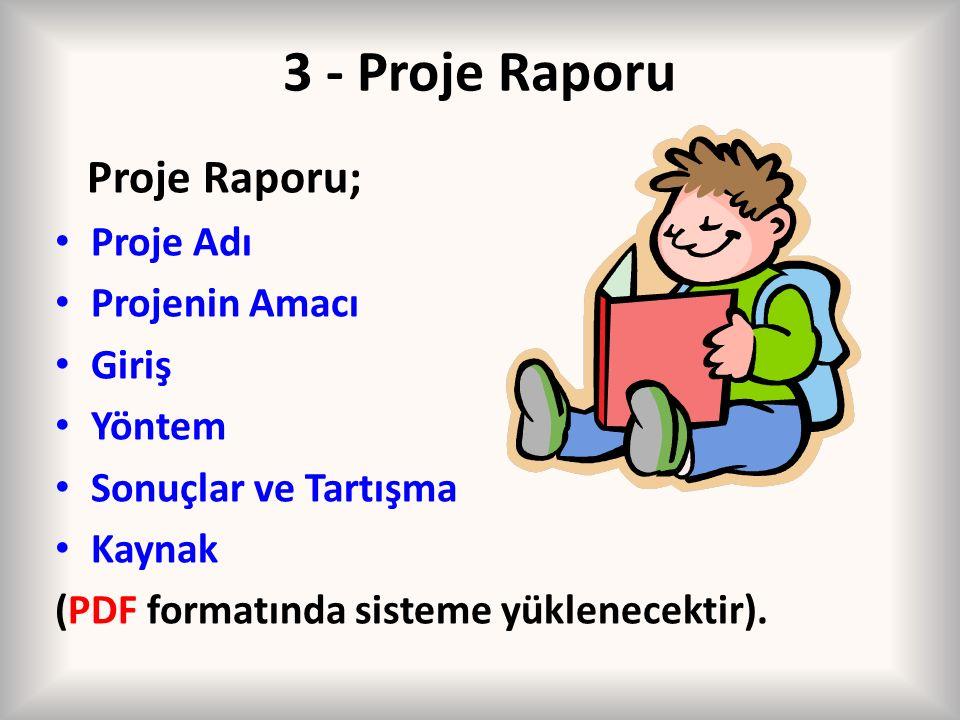 3 - Proje Raporu Proje Raporu; Proje Adı Projenin Amacı Giriş Yöntem