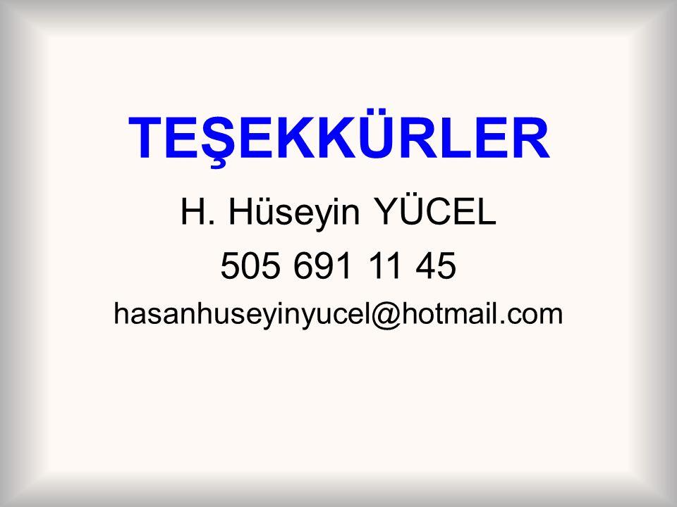 TEŞEKKÜRLER H. Hüseyin YÜCEL 505 691 11 45