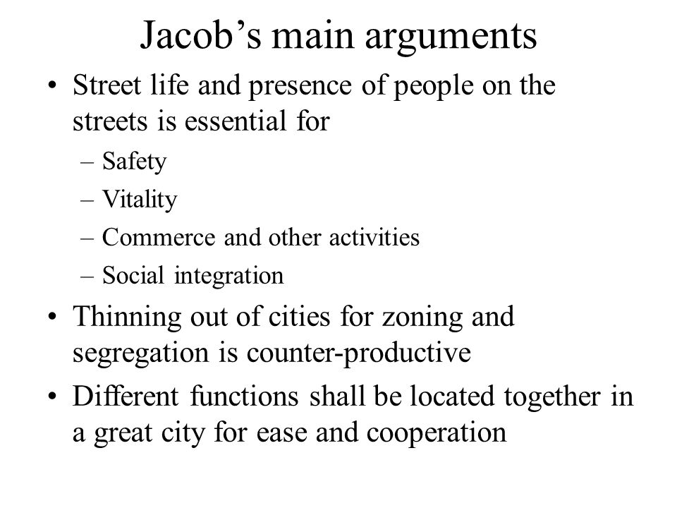 Jacob's main arguments