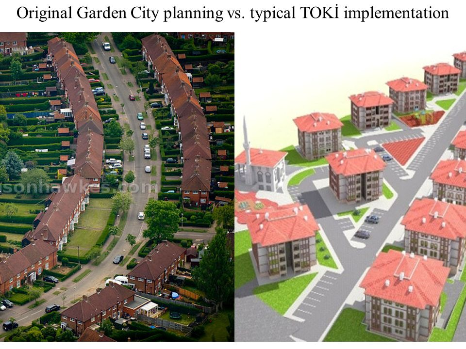 Original Garden City planning vs. typical TOKİ implementation