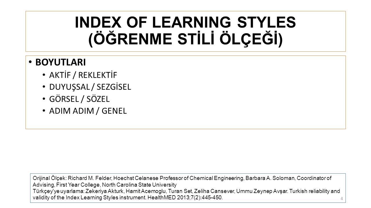 INDEX OF LEARNING STYLES (ÖĞRENME STİLİ ÖLÇEĞİ)