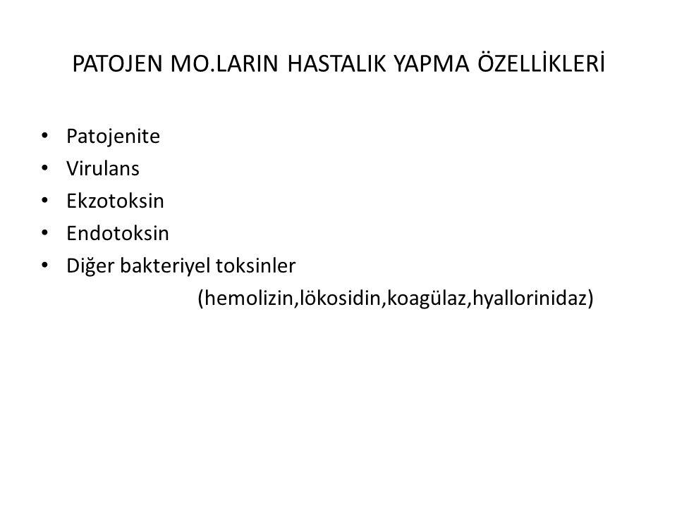 PATOJEN MO.LARIN HASTALIK YAPMA ÖZELLİKLERİ