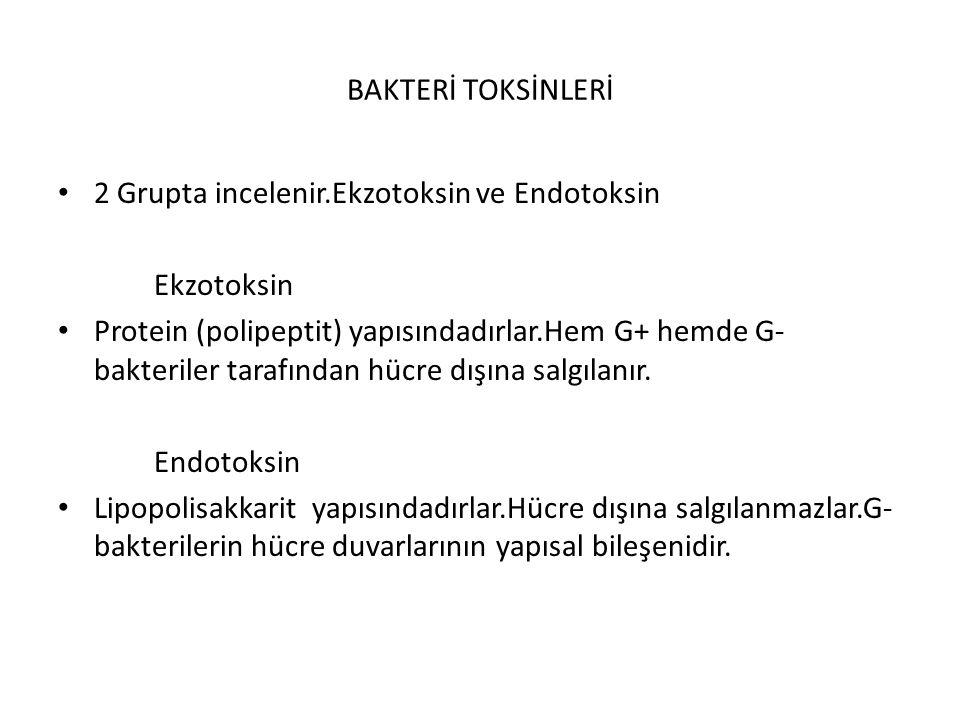 BAKTERİ TOKSİNLERİ 2 Grupta incelenir.Ekzotoksin ve Endotoksin. Ekzotoksin.