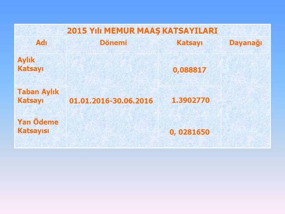 2015 Yılı MEMUR MAAŞ KATSAYILARI