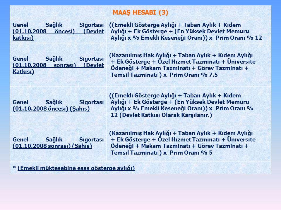 MAAŞ HESABI (3) Genel Sağlık Sigortası (01.10.2008 öncesi) (Devlet katkısı) ((Emekli Gösterge Aylığı + Taban Aylık + Kıdem.