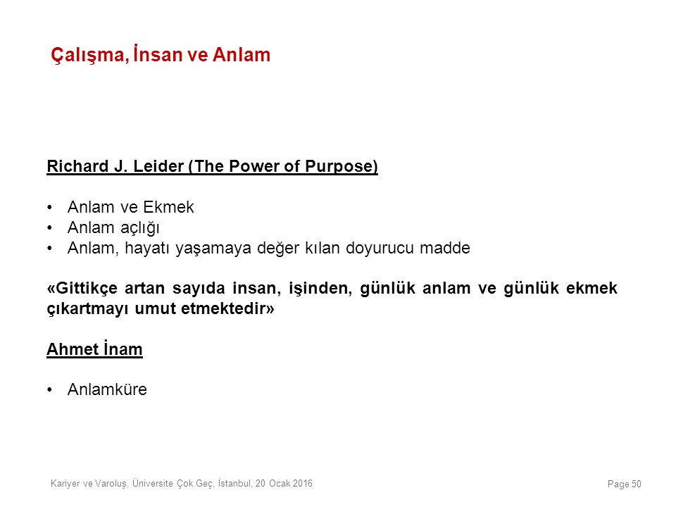 Çalışma, İnsan ve Anlam Richard J. Leider (The Power of Purpose)