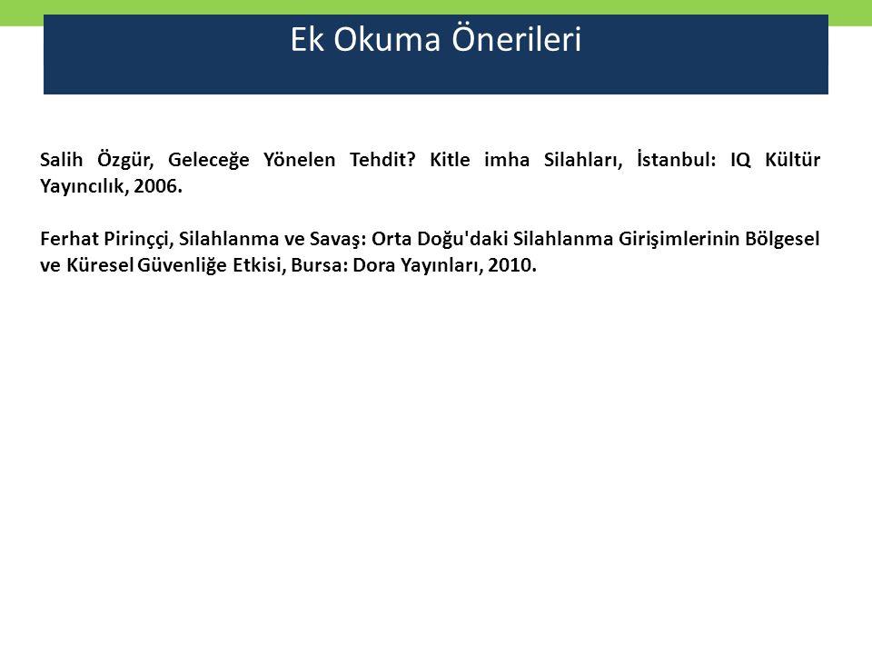 Ek Okuma Önerileri Salih Özgür, Geleceğe Yönelen Tehdit Kitle imha Silahları, İstanbul: IQ Kültür Yayıncılık, 2006.