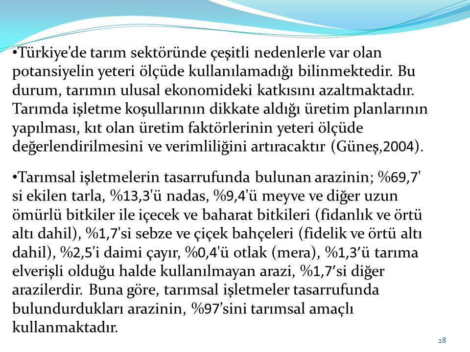Türkiye'de tarım sektöründe çeşitli nedenlerle var olan potansiyelin yeteri ölçüde kullanılamadığı bilinmektedir. Bu durum, tarımın ulusal ekonomideki katkısını azaltmaktadır. Tarımda işletme koşullarının dikkate aldığı üretim planlarının yapılması, kıt olan üretim faktörlerinin yeteri ölçüde değerlendirilmesini ve verimliliğini artıracaktır (Güneş,2004).