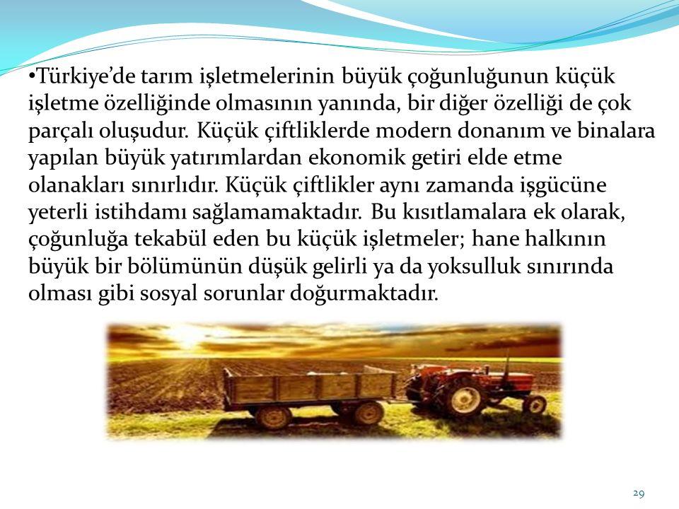Türkiye'de tarım işletmelerinin büyük çoğunluğunun küçük işletme özelliğinde olmasının yanında, bir diğer özelliği de çok parçalı oluşudur.