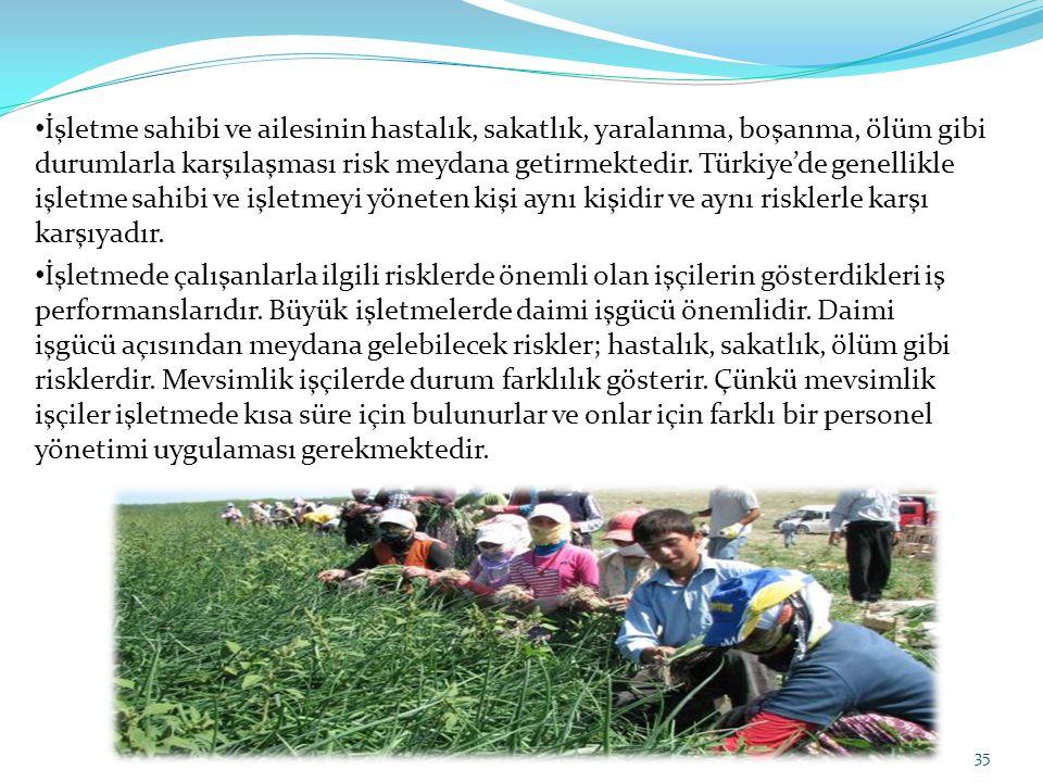 İşletme sahibi ve ailesinin hastalık, sakatlık, yaralanma, boşanma, ölüm gibi durumlarla karşılaşması risk meydana getirmektedir. Türkiye'de genellikle işletme sahibi ve işletmeyi yöneten kişi aynı kişidir ve aynı risklerle karşı karşıyadır.