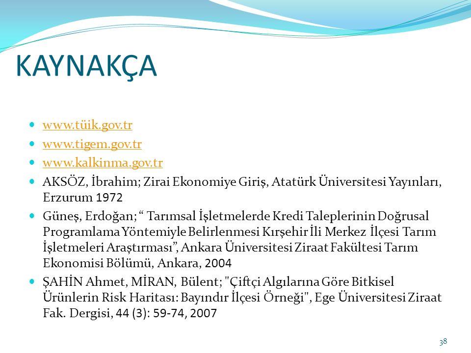 KAYNAKÇA www.tüik.gov.tr www.tigem.gov.tr www.kalkinma.gov.tr