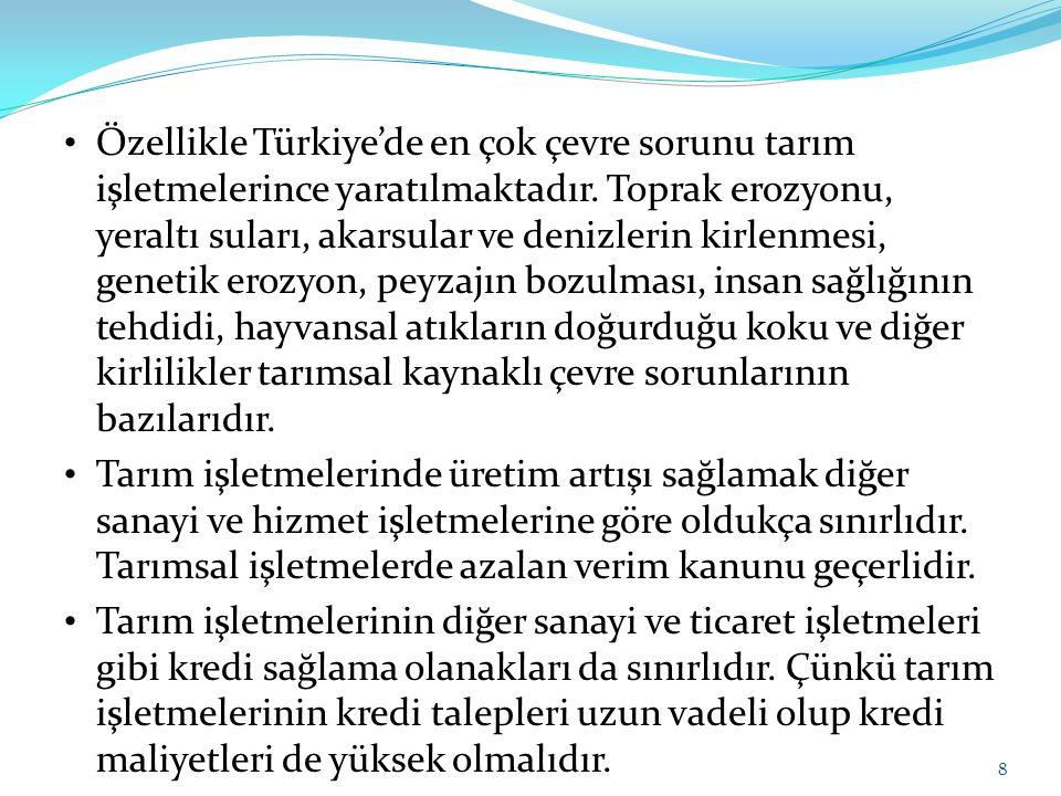 Özellikle Türkiye'de en çok çevre sorunu tarım işletmelerince yaratılmaktadır. Toprak erozyonu, yeraltı suları, akarsular ve denizlerin kirlenmesi, genetik erozyon, peyzajın bozulması, insan sağlığının tehdidi, hayvansal atıkların doğurduğu koku ve diğer kirlilikler tarımsal kaynaklı çevre sorunlarının bazılarıdır.