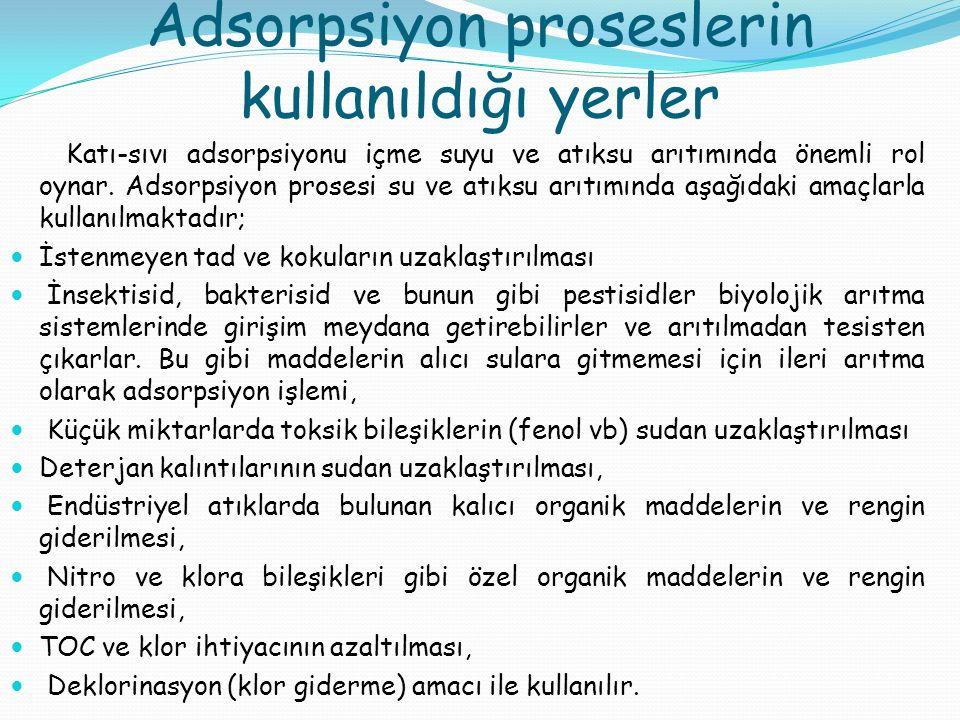 Adsorpsiyon proseslerin kullanıldığı yerler