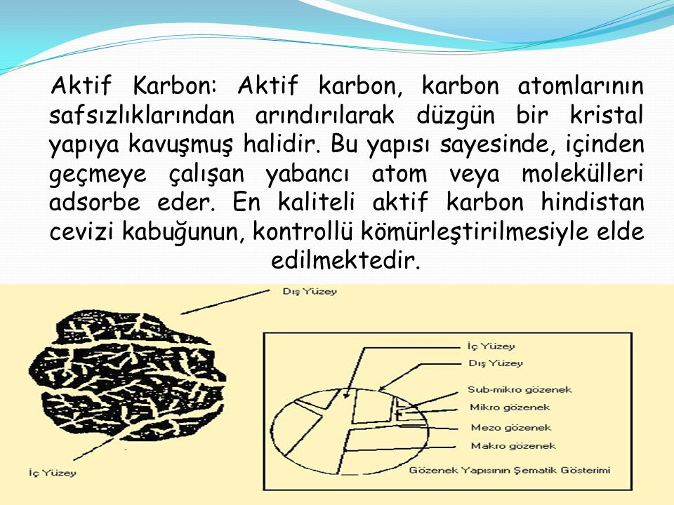 Aktif Karbon: Aktif karbon, karbon atomlarının safsızlıklarından arındırılarak düzgün bir kristal yapıya kavuşmuş halidir.