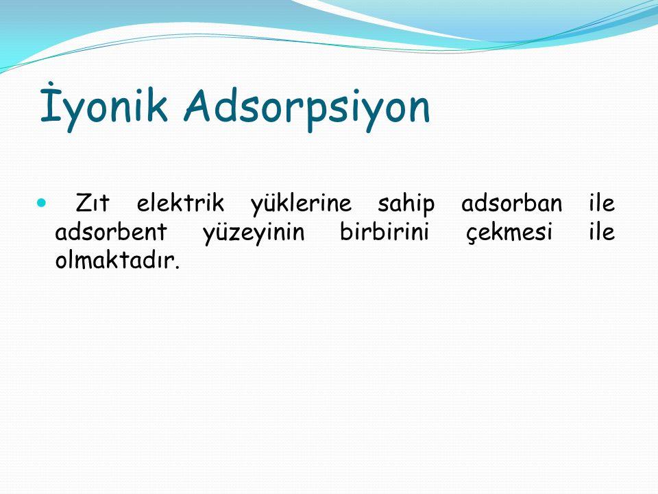 İyonik Adsorpsiyon Zıt elektrik yüklerine sahip adsorban ile adsorbent yüzeyinin birbirini çekmesi ile olmaktadır.