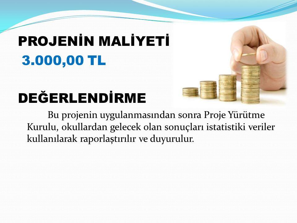 PROJENİN MALİYETİ 3.000,00 TL DEĞERLENDİRME