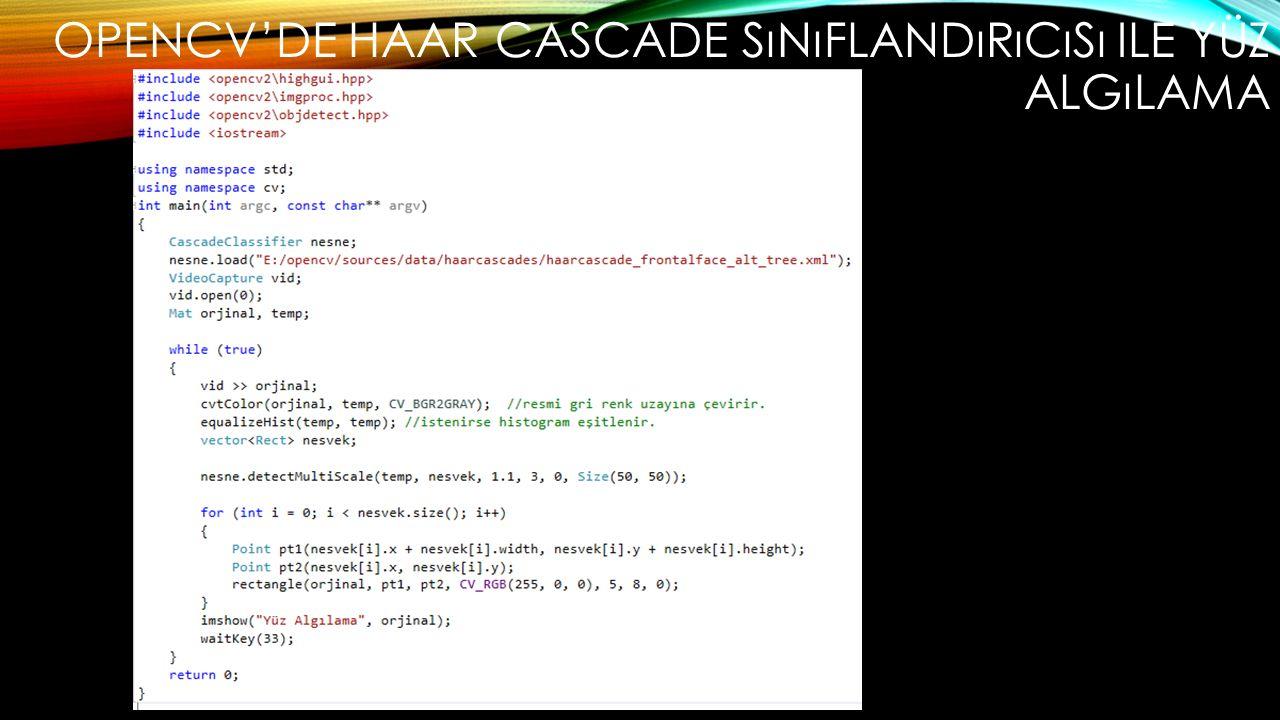 Opencv'de Haar cascade sınıflandırıcısı ile yüz algılama