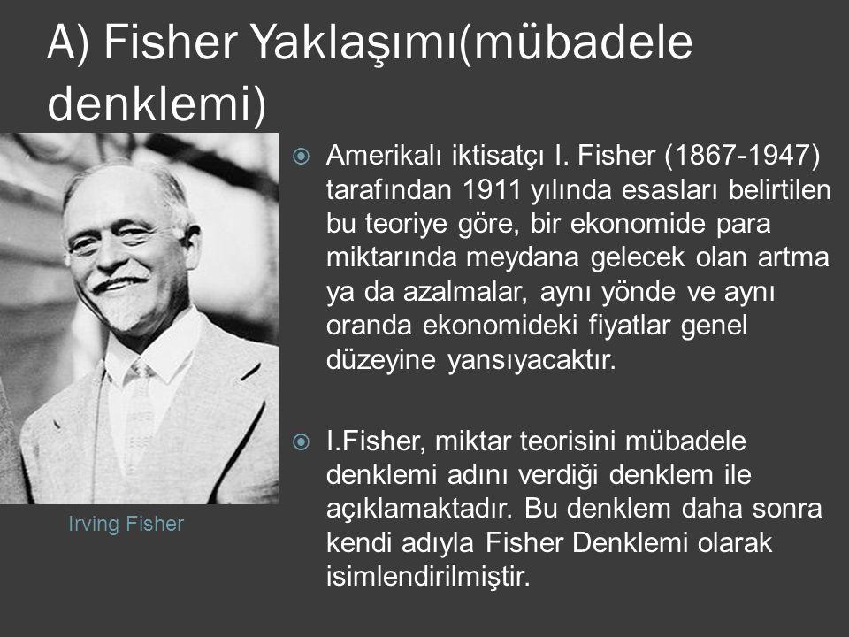 A) Fisher Yaklaşımı(mübadele denklemi)