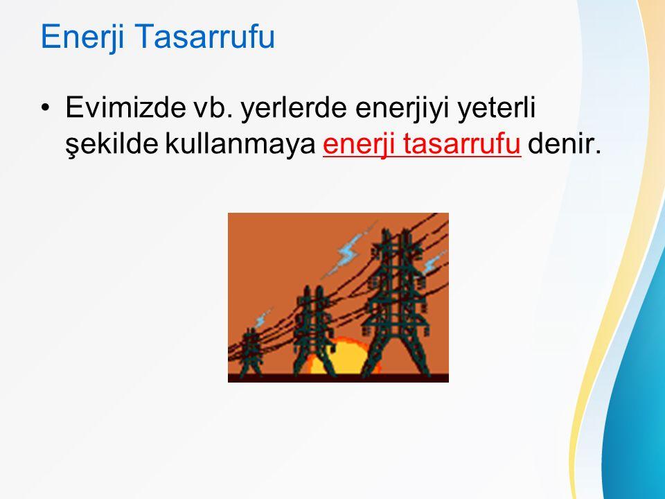 Enerji Tasarrufu Evimizde vb. yerlerde enerjiyi yeterli şekilde kullanmaya enerji tasarrufu denir.