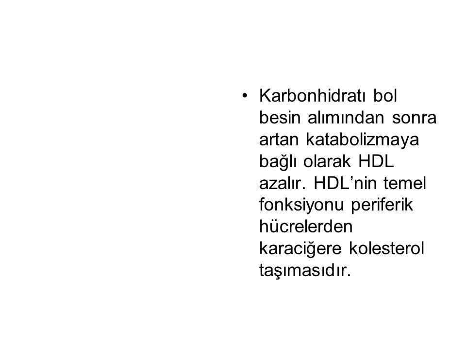 Karbonhidratı bol besin alımından sonra artan katabolizmaya bağlı olarak HDL azalır.