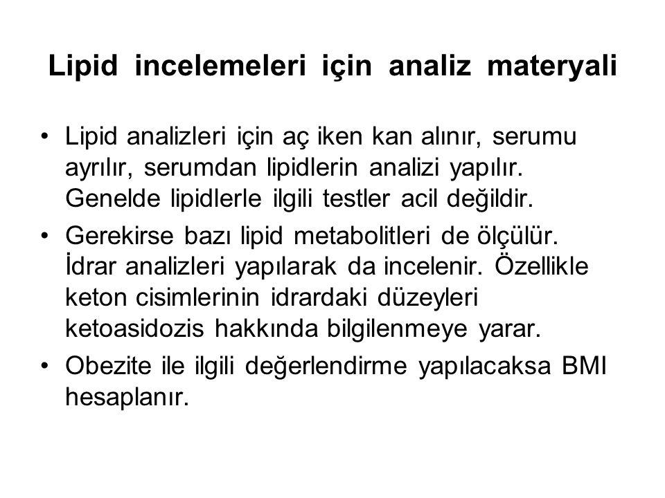 Lipid incelemeleri için analiz materyali