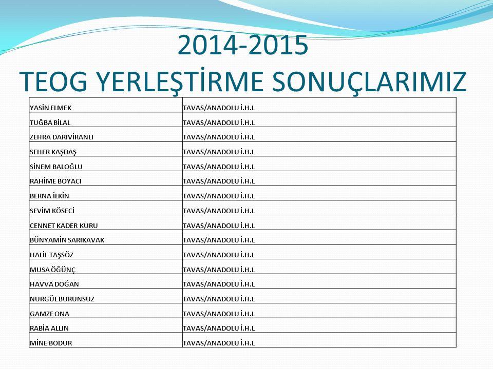 2014-2015 TEOG YERLEŞTİRME SONUÇLARIMIZ