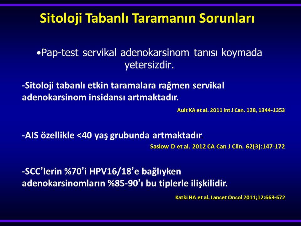 Pap-test servikal adenokarsinom tanısı koymada yetersizdir.