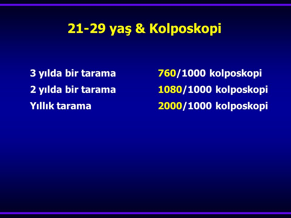 21-29 yaş & Kolposkopi 3 yılda bir tarama 760/1000 kolposkopi