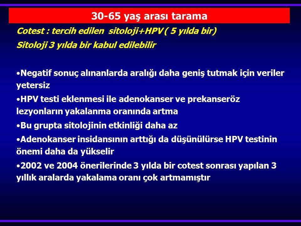 30-65 yaş arası tarama Cotest : tercih edilen sitoloji+HPV ( 5 yılda bir) Sitoloji 3 yılda bir kabul edilebilir.