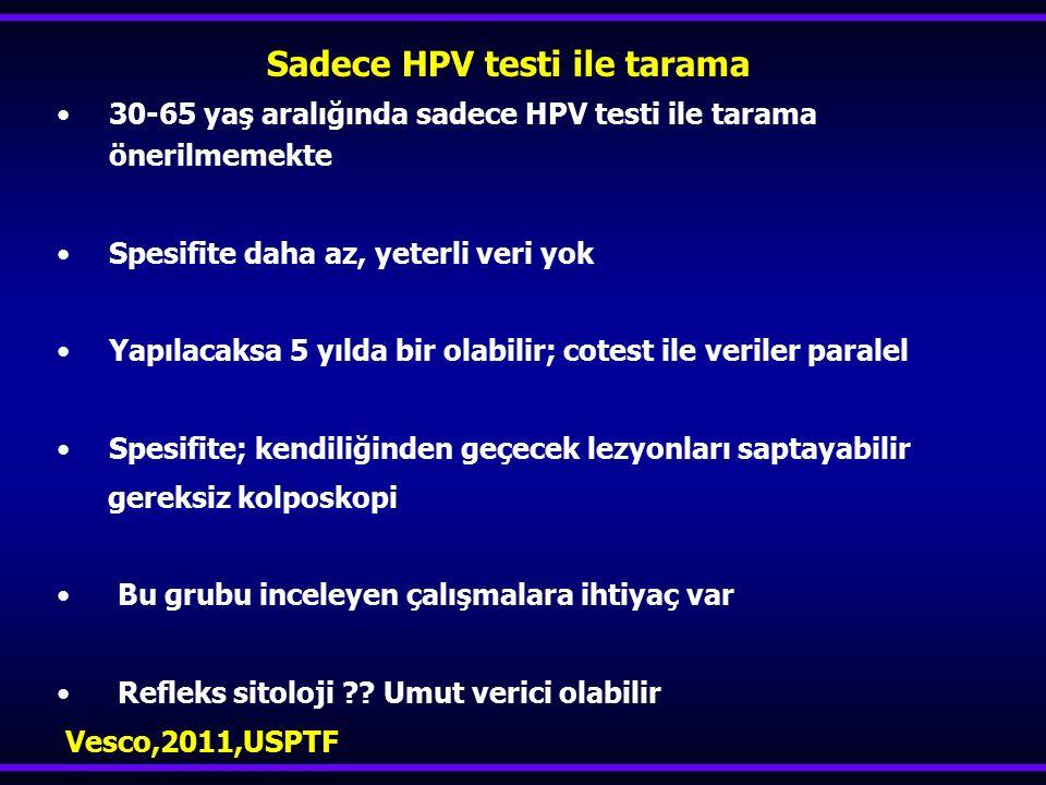 Sadece HPV testi ile tarama