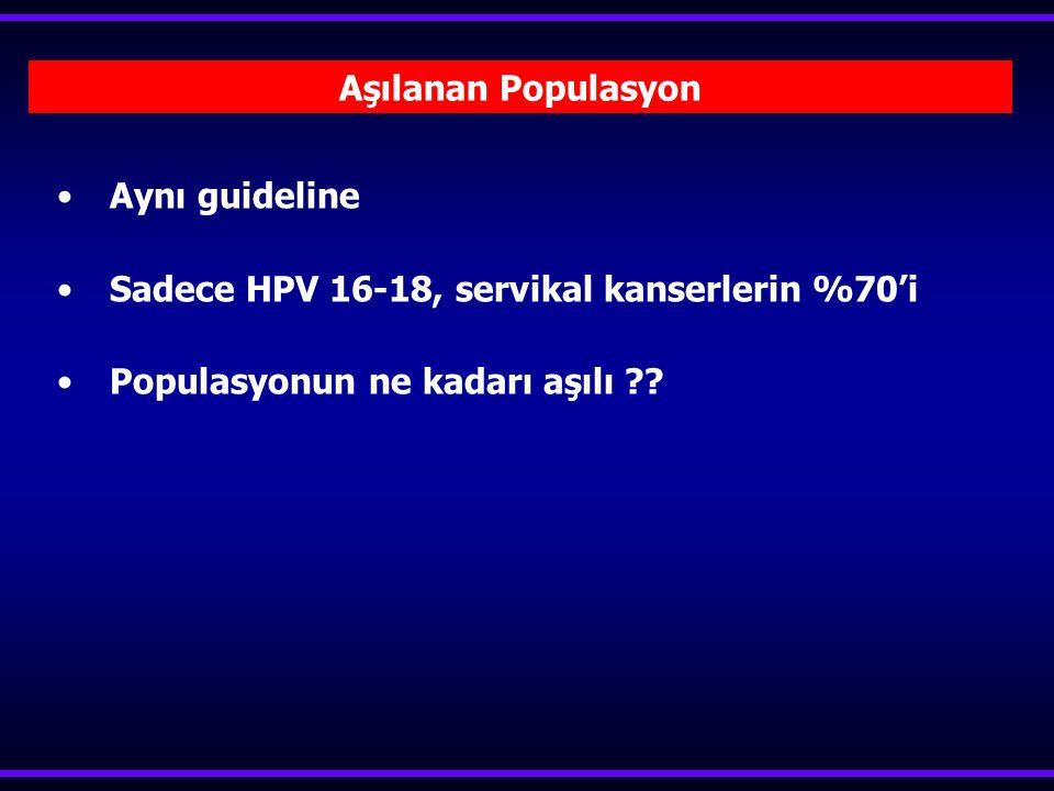 Aynı guideline Sadece HPV 16-18, servikal kanserlerin %70'i.