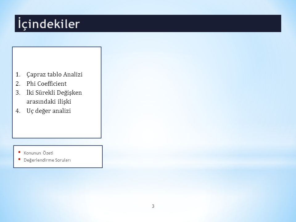 İçindekiler Çapraz tablo Analizi Phi Coefficient