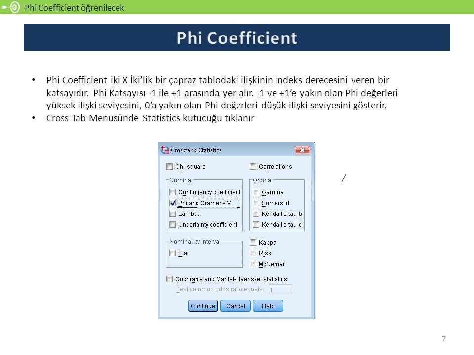 Phi Coefficient öğrenilecek