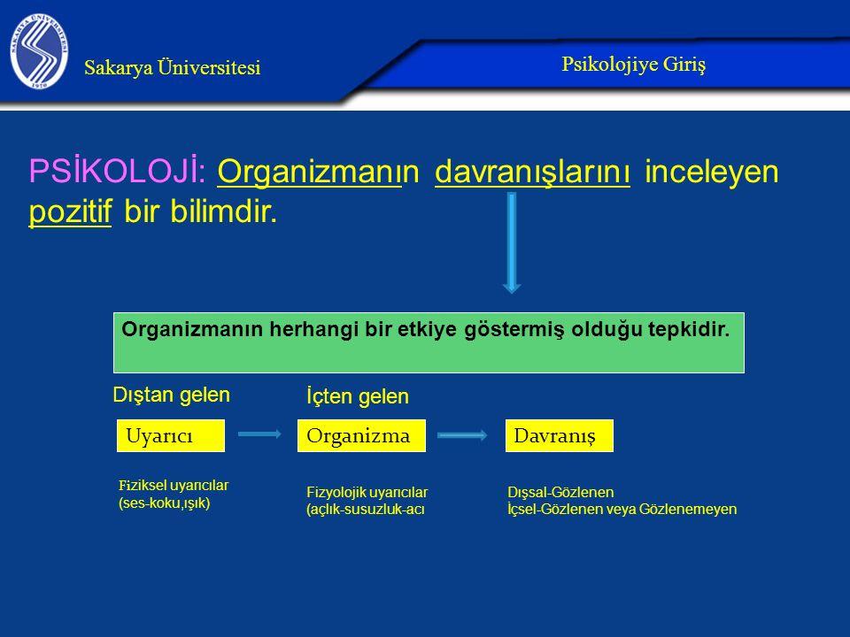 PSİKOLOJİ: Organizmanın davranışlarını inceleyen pozitif bir bilimdir.