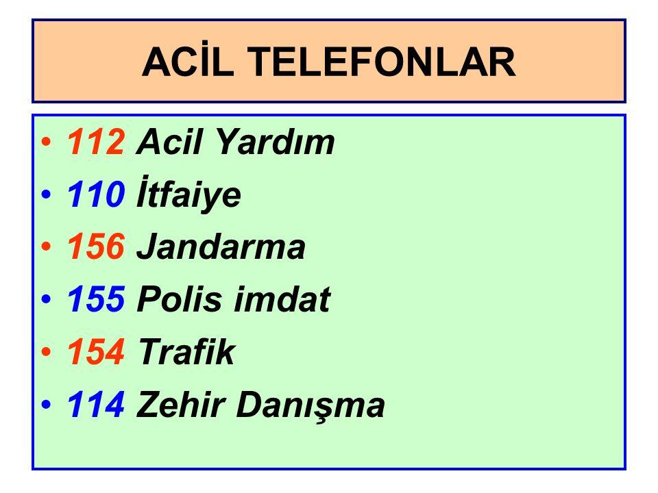 ACİL TELEFONLAR 112 Acil Yardım 110 İtfaiye 156 Jandarma