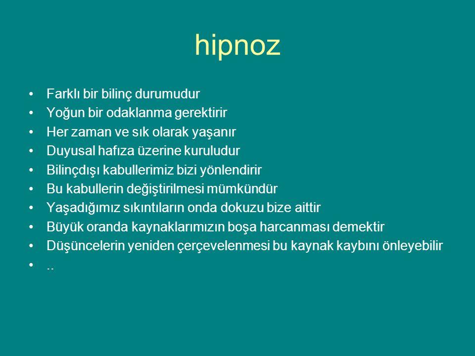 hipnoz Farklı bir bilinç durumudur Yoğun bir odaklanma gerektirir