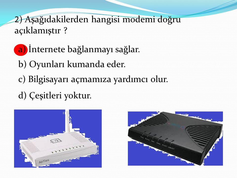 2) Aşağıdakilerden hangisi modemi doğru açıklamıştır