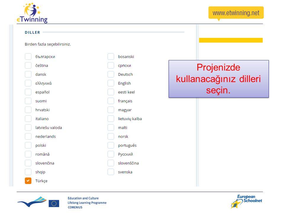 Projenizde kullanacağınız dilleri seçin.