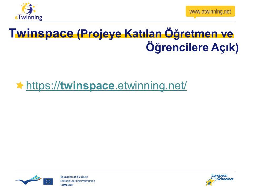 Twinspace (Projeye Katılan Öğretmen ve Öğrencilere Açık)