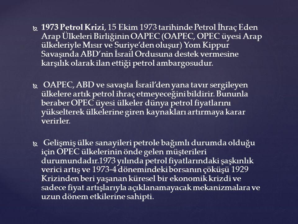 1973 Petrol Krizi, 15 Ekim 1973 tarihinde Petrol İhraç Eden Arap Ülkeleri Birliğinin OAPEC (OAPEC, OPEC üyesi Arap ülkeleriyle Mısır ve Suriye'den oluşur) Yom Kippur Savaşında ABD'nin İsrail Ordusuna destek vermesine karşılık olarak ilan ettiği petrol ambargosudur.
